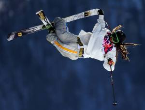 Sweden's Henrik Hanlaut barely keeps his pants on in the ski slopestyle... and sometimes doesn't