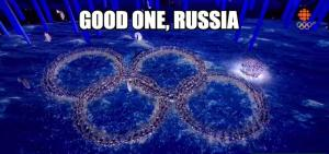 Who knew Russians had a sense of humour. The closing ceremony pokes fun at the owning ceremony rings hiccup