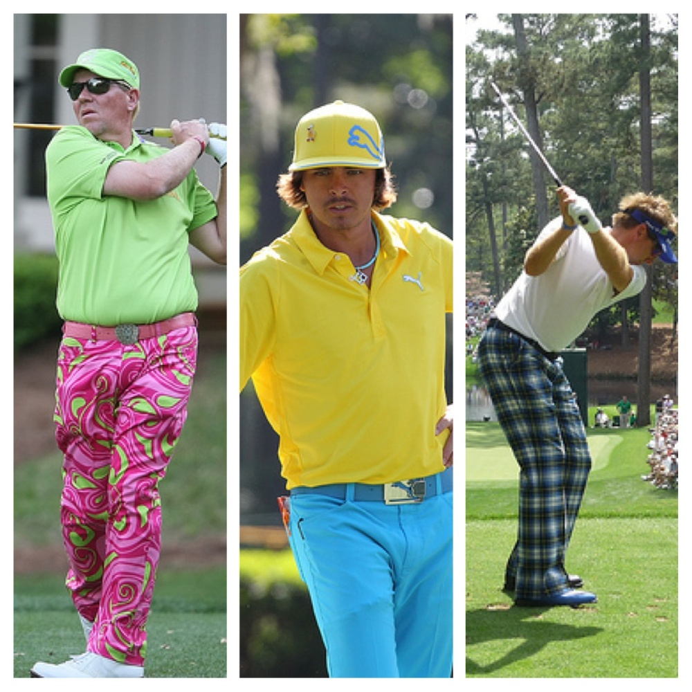 John Daly, Rickie Fowler and Ian Poulter model their idea of fashions on the field Pictures by Keith Allison and Blake Hall