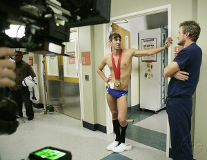 Phelps goes for socks appeal.  Blame geekchic89 for this image