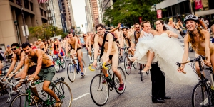 Naked bike wedding photo