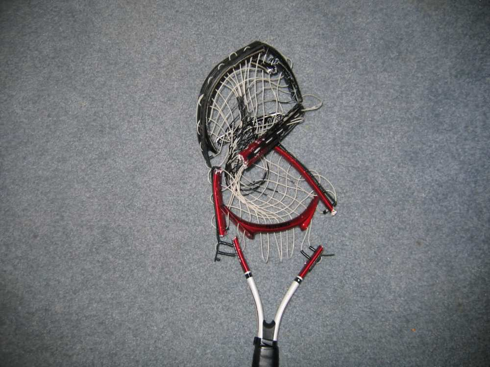 smashed tennis racquet